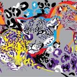 Wzór z lampartami. Duże koty. Pop Art. Stylowe kolorowe tło. Letni nadruk. Markowane markery. - 261147733