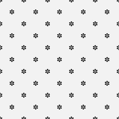 Seamless vector floral pattern. Minimal simple background with tiny flowers. Decorative stylish monochrome texture in black and white. Isolated repetitive flat tile design.
