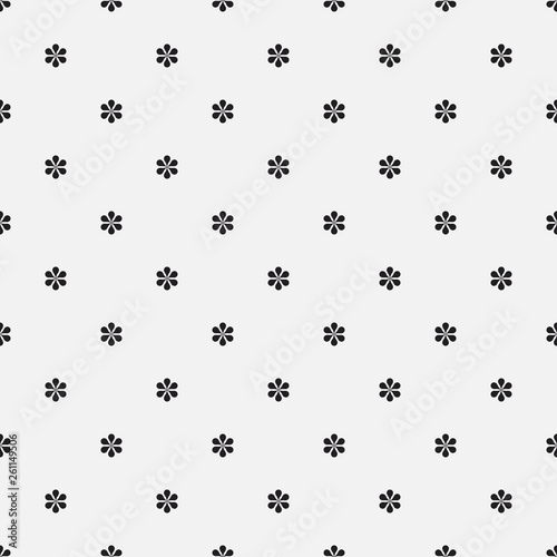 Seamless vector floral pattern. Minimal simple background with tiny flowers. Decorative stylish monochrome texture in black and white. Isolated repetitive flat tile design. Wall mural