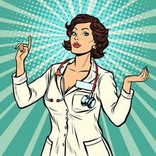 Woman Doctor Presentation Gesture