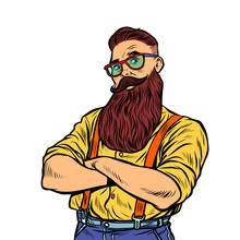 Bearded Hipster With Glasses Isolate On White Background