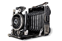 Old Camera On White Background...