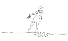 Woman Walking On Water With Shoes In Her Hands