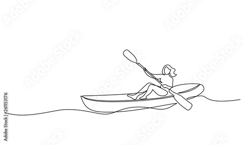 Fotografie, Obraz  Continuous one line drawing Woman in canoe
