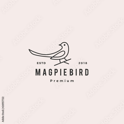 magpie bird logo vector icon illustration Wallpaper Mural