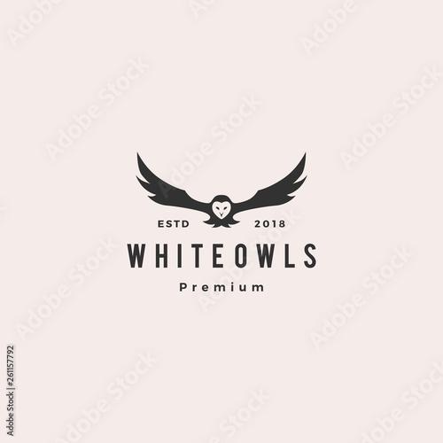 Canvas Prints Owls cartoon white owl logo vector icon illustration
