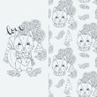 Set of seamless cute childish pattern and doodle cut image with hand drawn cute animals. Creative doodle kids texture for fabric, wrapping, textile, wallpaper, prints, apparel