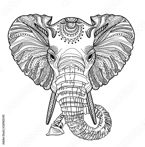 Poster de jardin Crâne aquarelle The head of an elephant. Meditation, coloring of the mandala. Large horns and long trunk. Elephant with tusks. Background for text