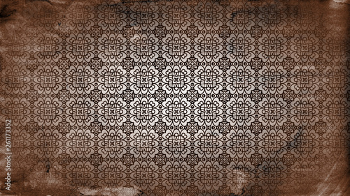 Fényképezés  Dark Brown Vintage Ornament Wallpaper Pattern Design
