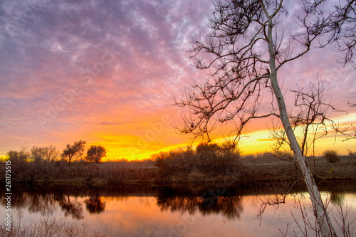 Sunset over the Feather River in Northern California.