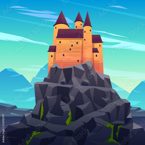 Photo Medieval castle, ancient citadel or impregnable fortress with stone towers on rocky peak cartoon vector