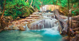 Fototapeta Room - Beautiful waterfall at Erawan national park, Thailand. Panorama