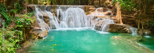 Tuinposter Watervallen Beautiful waterfall Huai Mae Khamin, Thailand. Panorama