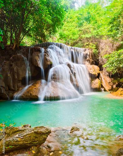 Photo sur Toile Cascades Beautiful waterfall Huai Mae Khamin, Thailand