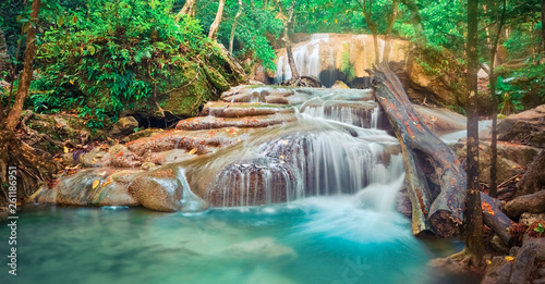 Tuinposter Watervallen Beautiful waterfall at Erawan national park, Thailand. Panorama