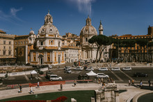 ROME, ITALY - 11 SEPTEMBER 2018: Piazza Venezia, The Palazzo Venezia And The Vittoriano