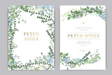 Wedding Invitation, Floral Invite Thank You, Rsvp Modern Card Design In Blue And Purple Flower And Leaf Greenery  Branches Decorative Vector Elegant Rustic Template