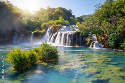 Fotobehang Zwart Panoramic landscape of Krka Waterfalls on the Krka river in Krka national park in Croatia.
