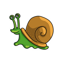 Cute Colorful Green Snail With Brown House Shell