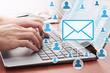 Leinwandbild Motiv Businessman sending email by laptop. Online people network. Using internet for communication.