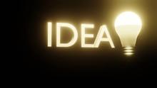 3D Lettering Idea And Burning Light Bulb