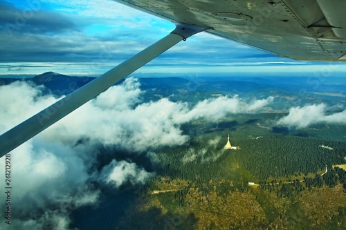 Photo  Czech Republic-Autumn view of mountains from airplane
