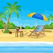 Landscape of wooden chaise lounge, palm tree on beach. Umbrella Day in tropical place. Vector illustration in flat style