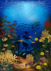 Fototapeta na wymiar Underwater wallpaper with sunken ship, vector illustration