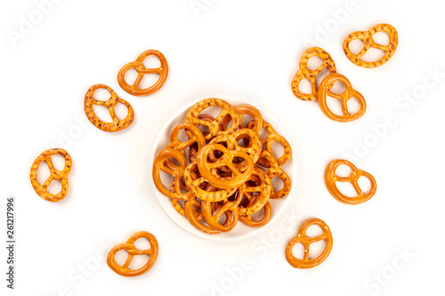 Fotografia, Obraz  Salt pretzels, shot from the top on a white background with copy space