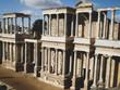 Roman theater in ruins in Merida, Spain