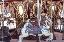 Merry-go-round Wooden Horses. Ride A Carousel