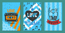 Love Music Festival Cards Vector Illustration. Let Your Heart Sing. Music Make Everything Better. Electric Guitars With Hearts. Listening To Songs. DJ Performance. Instrument Playing.