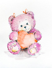 Happy Valentine's Day, Cute Teddy Bear Holding Heart, Love Background. Watercolors Painting Isolated On White Background.