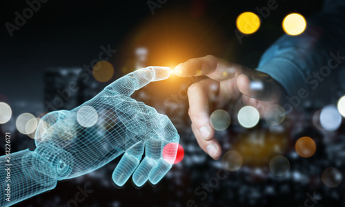canvas print motiv - sdecoret : Wireframed Robot hand making contact with human hand on dark 3D rendering
