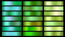 Green Ecology Vector Gradients Set. Glossy Shin Nature Green Gradient