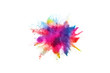 canvas print picture - Multicolor powder explosion on White background. Colored cloud. Colorful dust explode. Paint Holi.