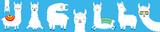 Llama alpaca big line set. Face glassess. Baby collection. Cute cartoon kawaii funny character. Fluffy hair fur. T-shirt, greeting card, poster template print. Flat design. Blue background.