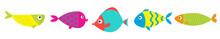 Cute Cartoon Fish Icon Set Line. Baby Kids Collection. Aquarium Sea Ocean Animals. White Background. Isolated. Flat Design.