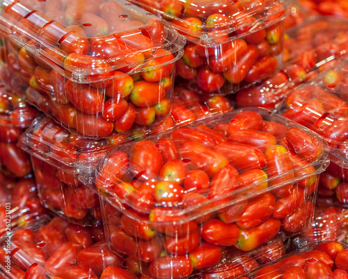 Cherry Tomatoes In Plastic Containers On Display  Micro