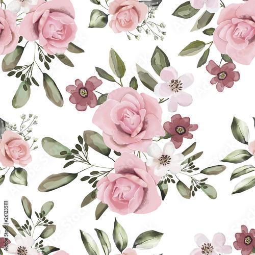 bezszwowy-wzor-z-liscmi-i-kwiatami-projekt-tla-kwiatu-akwarela-ilustracja-oryginalny-wzor-na-tkanine-tapete-papier-rozowe-roze-z-polnymi-kwiatami