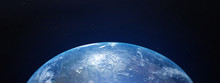 View Of Blue Planet Earth From Space. 3D Rendering
