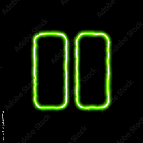 Fotografie, Obraz  green neon symbol pause