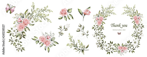 Fototapety, obrazy: Watercolor drawing. Botanical set for weddings or greeting cards. Flower illustration. Composition of pink roses, white flowers,  wild herbs. A set of bouquets, twigs, flower elements and garden herbs