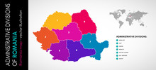 Vector Map Of Romania And Administrative COLOR