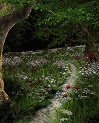 Fototapeta 3D Forest footpath in the summertime - 3D illustration