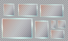 Glass Plates Set. Vector Glass Banners On Transparent Background