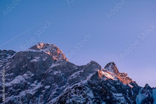 Spoed Foto op Canvas Grijze traf. Sun goes down on Mangart, Italian alps