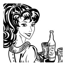 Vintage Pin Up Waitress Portrait With Tray Serving Beer