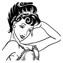 Vintage Listening Pin Up Woman Portrait In Corset