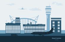 Landscape Of Airport. Transportation Terminal Silhouette. Airplane On Aerodrome Background. Aviation Scene